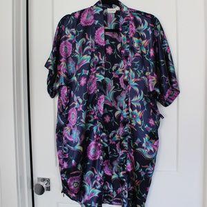 EUC: Navy Paisley Robe/Kimono Coverup Sz S
